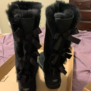 UGG Bailey Bow Tall Boots-Black